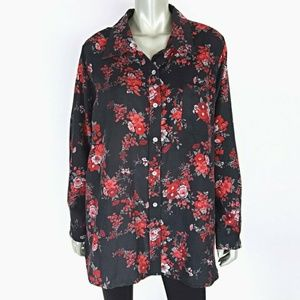 Woman Within Plus Size 1X Brushed Floral Top